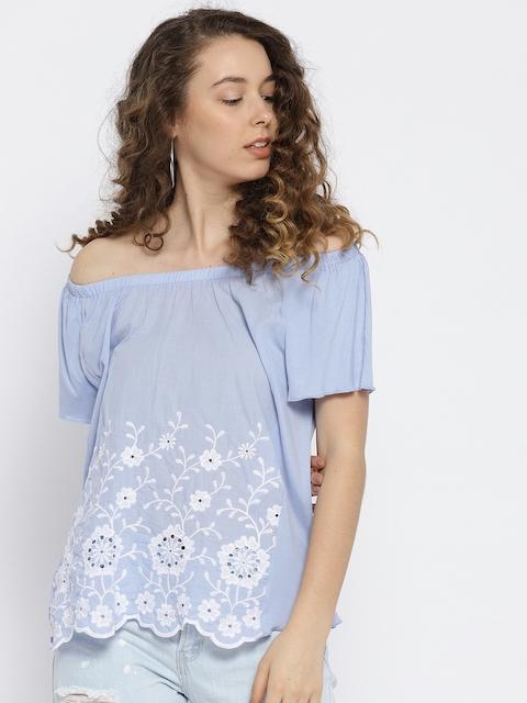 OVS Women Blue Embroidered Bardot Top