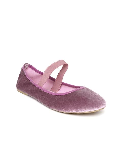 OVS Women Purple Solid Velvet Ballerinas