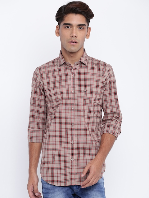 Monte Carlo Men Brown & Red Regular Fit Checked Casual Shirt