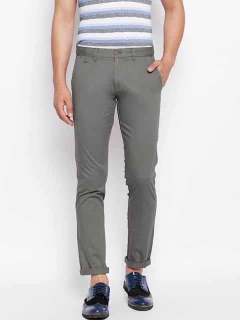 Monte Carlo Men Grey Regular Fit Solid Trousers