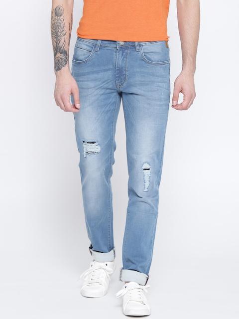 Monte Carlo Men Blue Straight Fit Low-Rise Low Distress Jeans