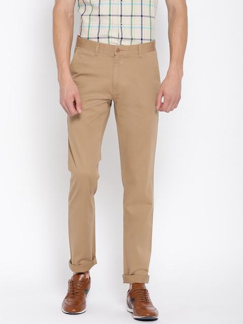 Monte Carlo Men Khaki Smart Slim Fit Solid Regular Trousers