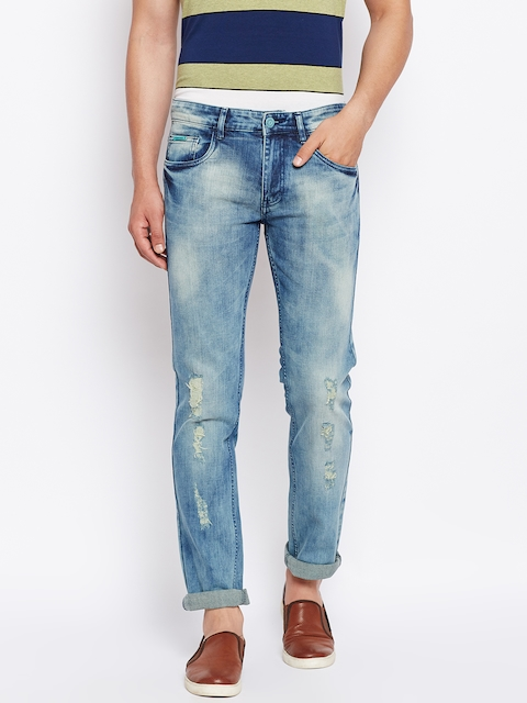 Monte Carlo Men Blue Narrow Skinny Fit Mid-Rise Low Distress Stretchable Jeans