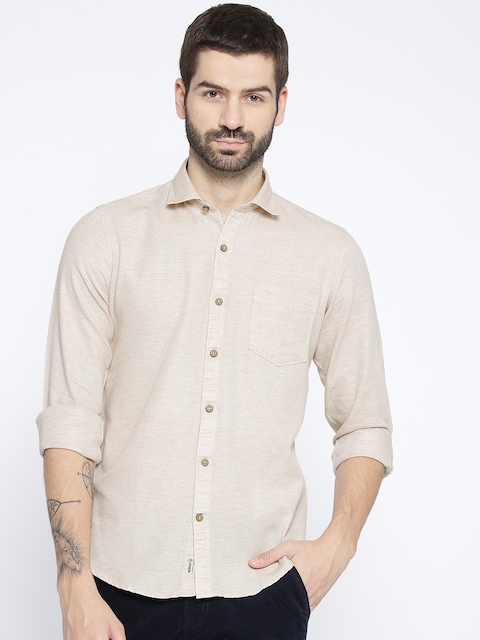 Monte Carlo Men Beige Slim Fit Solid Casual Shirt