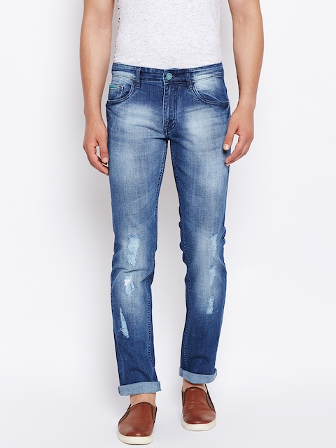 Monte Carlo Men Blue Narrow Skinny Fit Mid-Rise Mildly Distressed Stretchable Jeans