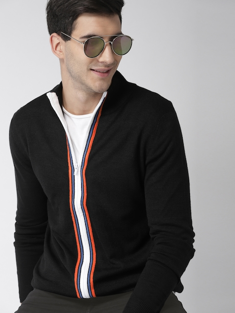 Mast & Harbour Men Black Solid Cardigan Sweater