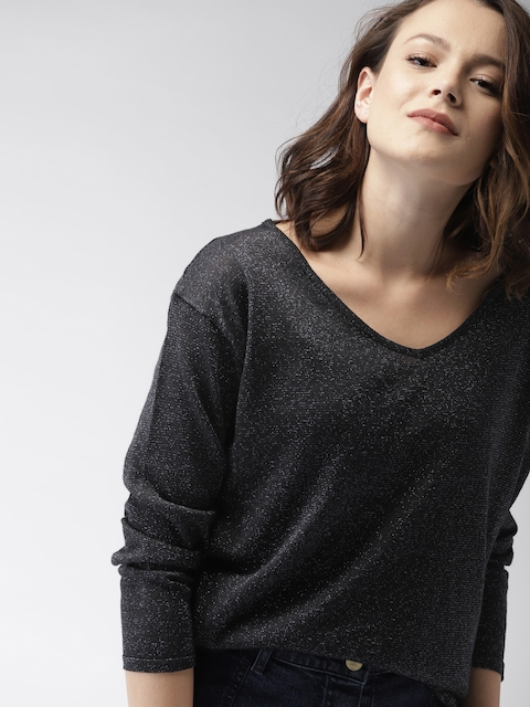 Mast & Harbour Women Black Solid Pullover