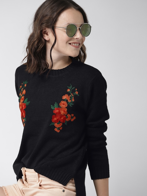 Mast & Harbour Women Black & Red Embroidered Pullover