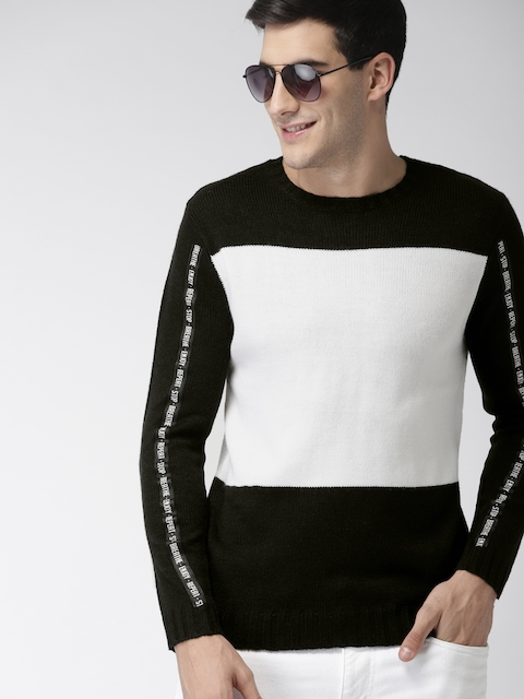 Mast & Harbour Men Black & White Colourblocked Pullover Sweater