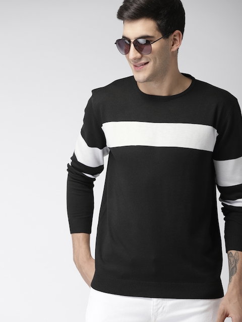Mast & Harbour Men Black & White Striped Pullover