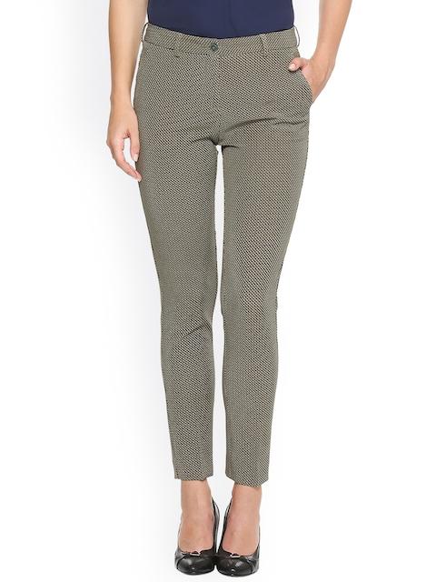 Van Heusen Woman Women Olive Green Regular Fit Printed Regular Trousers