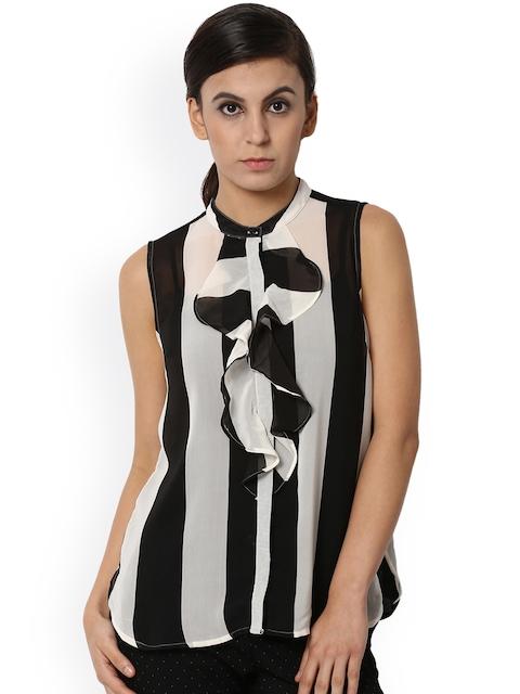 Van Heusen Woman Women Black Striped Top
