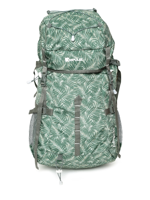 Impulse Unisex Green Printed Foliage 65 Litres Rucksack
