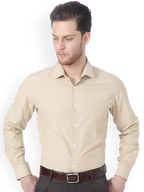 Peter England Men Beige Slim Fit Checked Formal Shirt
