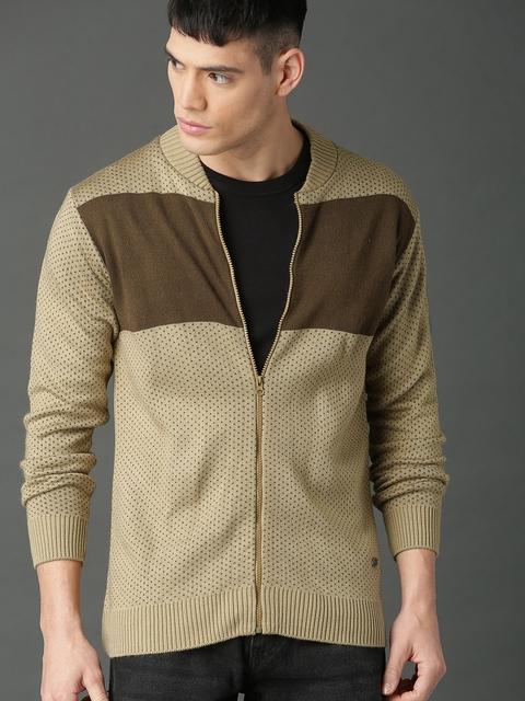 Roadster Men Beige & Brown Colourblocked Front-Open Sweater