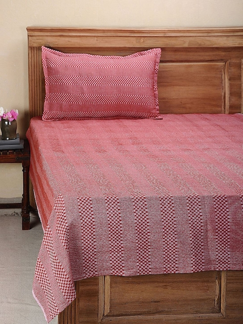 NEUDIS Red Single Bed Cover With Pillow Cover