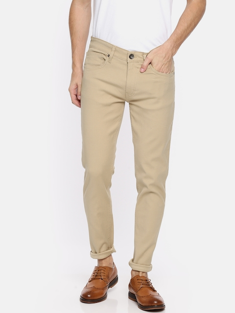 Pepe Jeans Men Beige Slim Fit Low-Rise Clean Look Stretchable Jeans