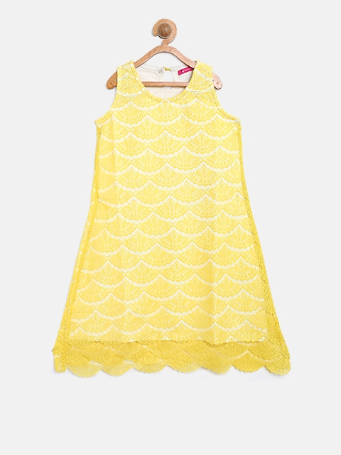 Monte Carlo Girls Yellow Lace A-Line Dress