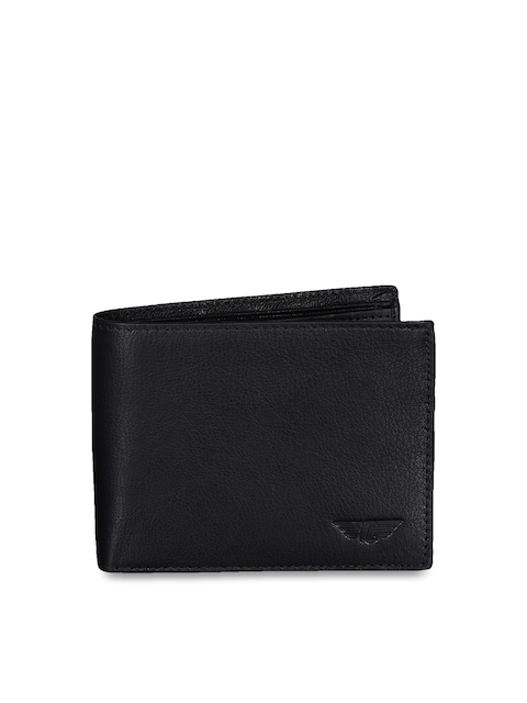 Red Tape Men Black Solid Two Fold Wallet