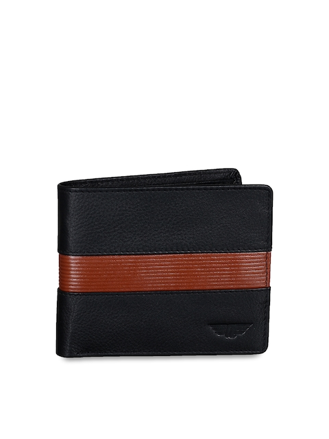 Red Tape Men Black Colourblocked Two Fold Wallet