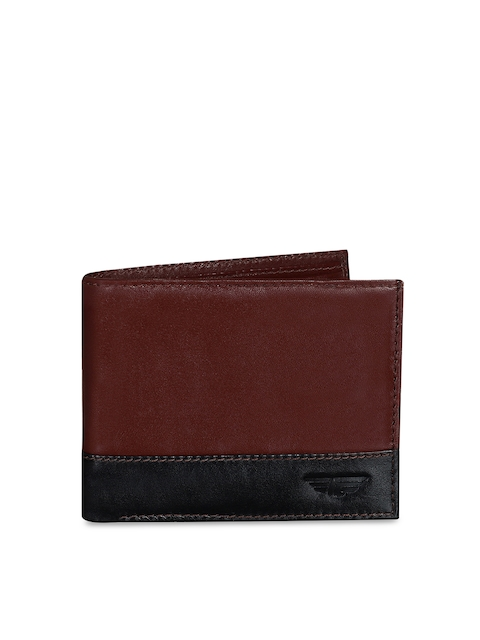 Red Tape Men Brown Colourblocked Two Fold Wallet