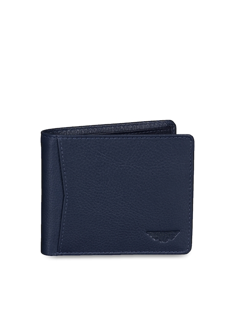 Red Tape Men Blue Solid Two Fold Wallet