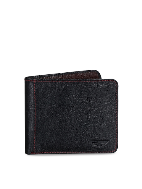 Red Tape Men Black & Brown Solid Two Fold Wallet