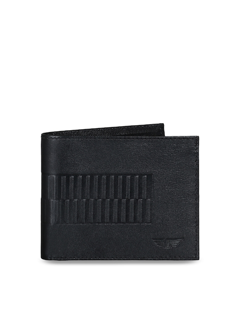 Red Tape Men Black Textured Two Fold Wallet