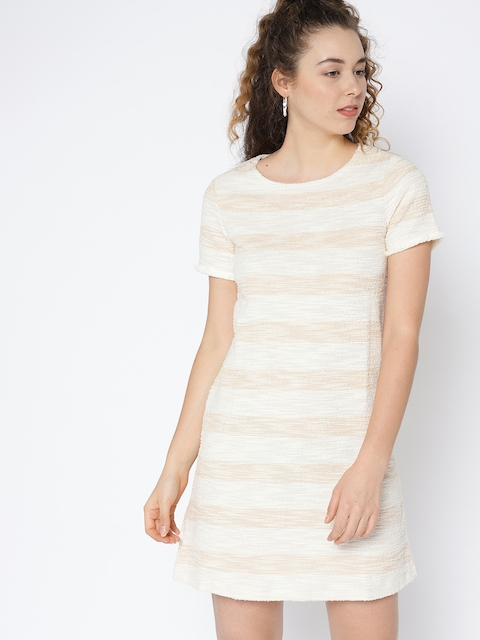 8eb453ce71 40%off MANGO Women Beige   Off-White Striped A-Line Dress