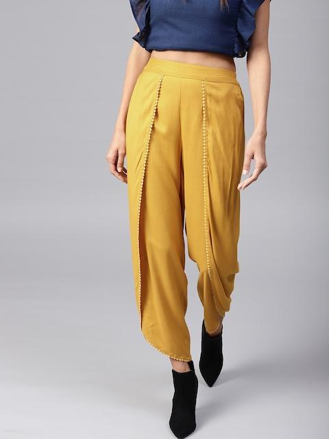 SASSAFRAS Women Mustard Yellow Solid Dhoti Pants