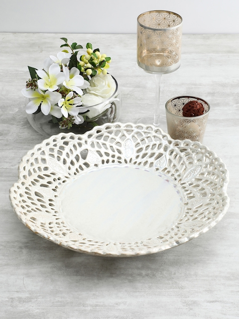 Pure Home and Living Ivory Anemone Cutwork Ceramic Platter