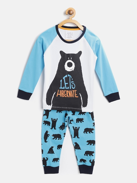 Lazy Shark Boys White & Blue Printed Night Suit BDRS0089