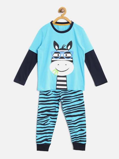 Lazy Shark Boys Blue & White Printed Night Suit BDRS0090