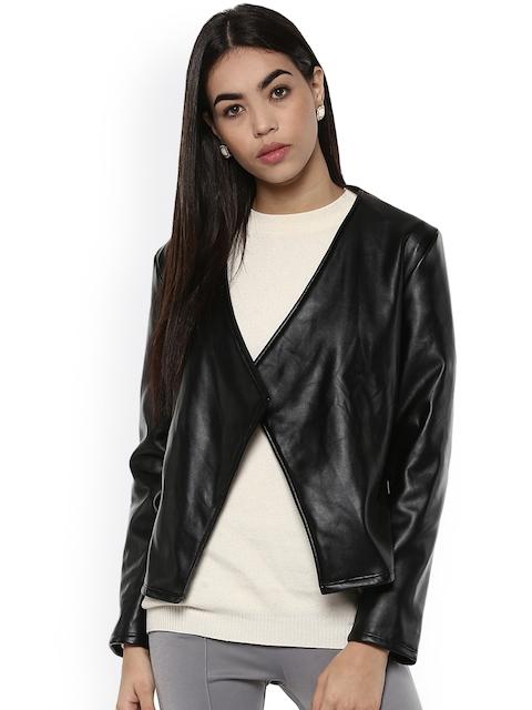 Kazo Women Black Solid Leather Jacket