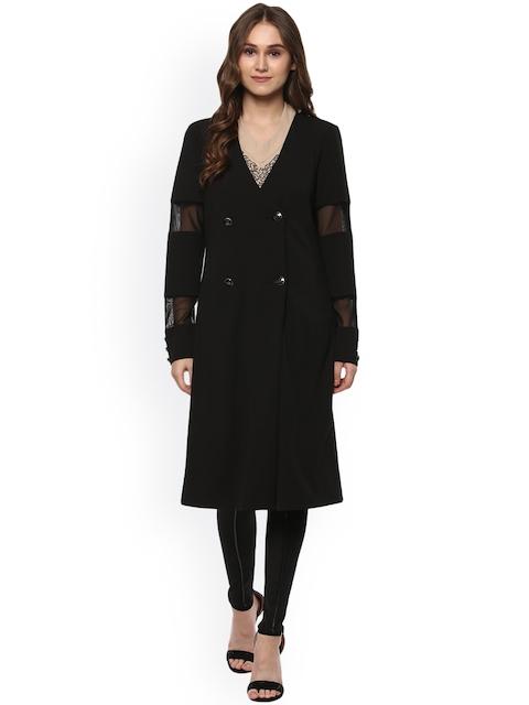 Kazo Women Black Solid Duster Jacket
