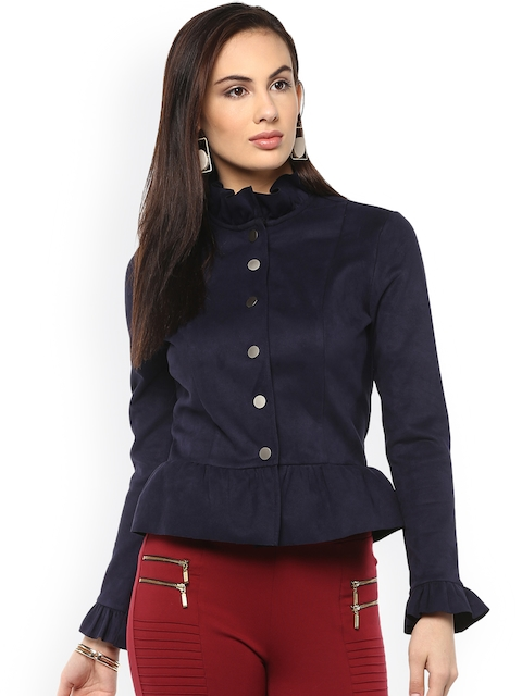 Kazo Women Navy Blue Solid Tailored Jacket