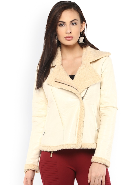 Kazo Women Cream-Coloured Solid Tailored Jacket