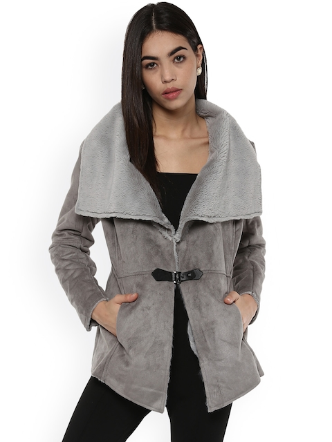Kazo Women Grey Solid Tailored Jacket