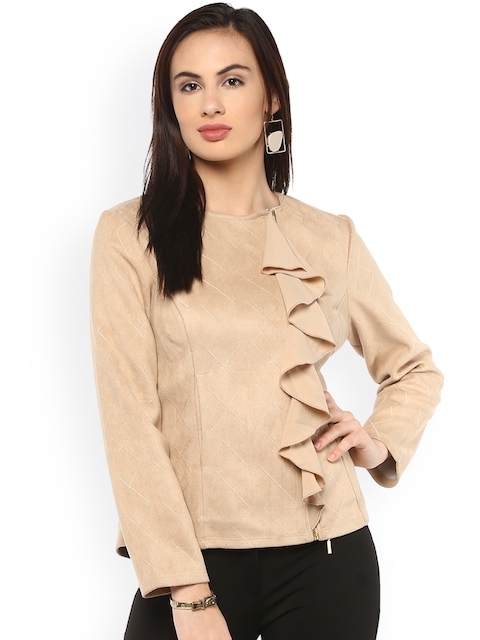 Kazo Women Beige Solid Tailored Jacket