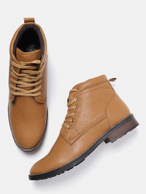 Roadster Men Tan Solid Mid-Top Flat Boots