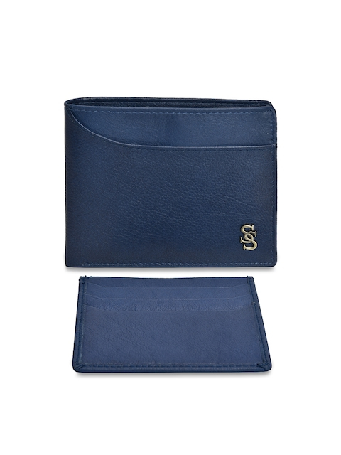 Second SKIN Men Blue Solid Two Fold Wallet