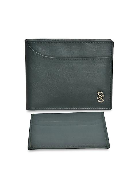 Second SKIN Men Green Solid Two Fold Wallet