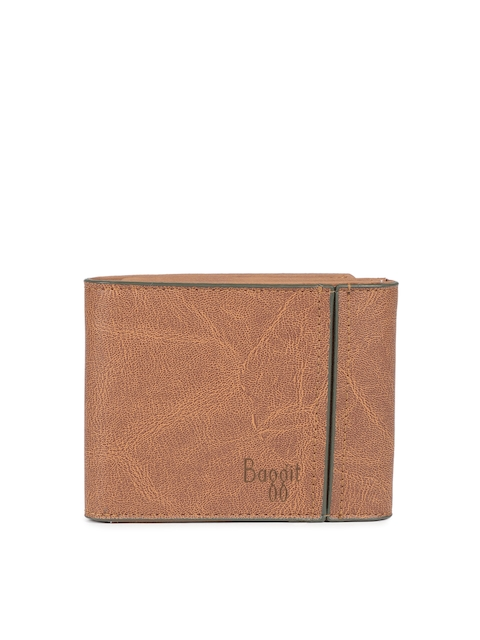 Baggit Men Tan Textured Three Fold Wallet