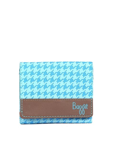 Baggit Women Blue Printed Three Fold Wallet