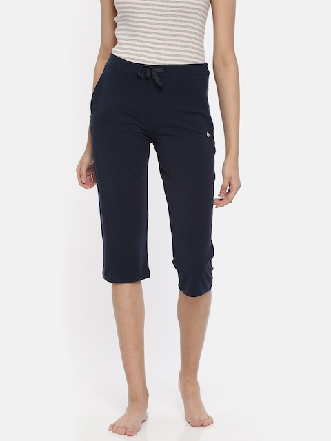 Enamor Navy Blue Solid Slim Fit Lounge Capri E018