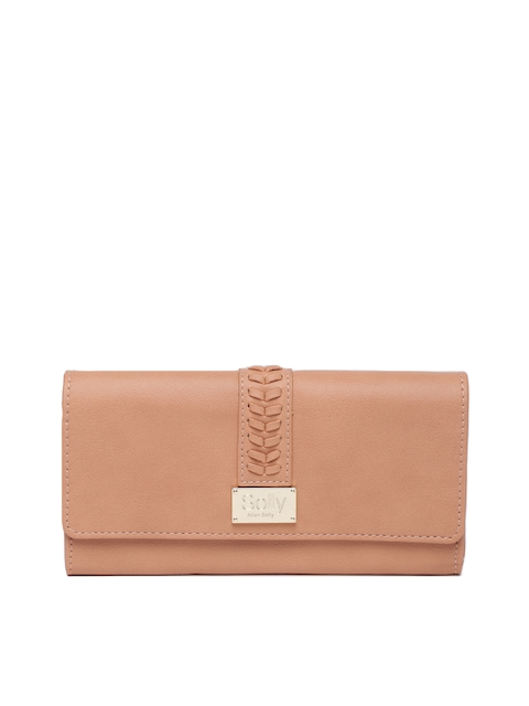 Allen Solly Women Peach-Coloured Solid Two Fold Wallet