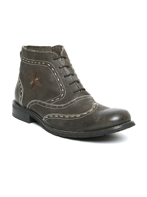 Ruosh Men Olive Brown Woven Design Leather Mid-Top Flat Boots
