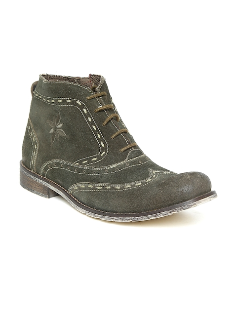 Ruosh Men Olive Green Woven Design Leather Mid-Top Flat Boots