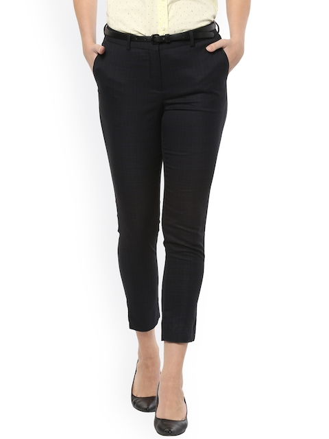 Allen Solly Woman Women Black Slim Fit Checked Cropped Trousers