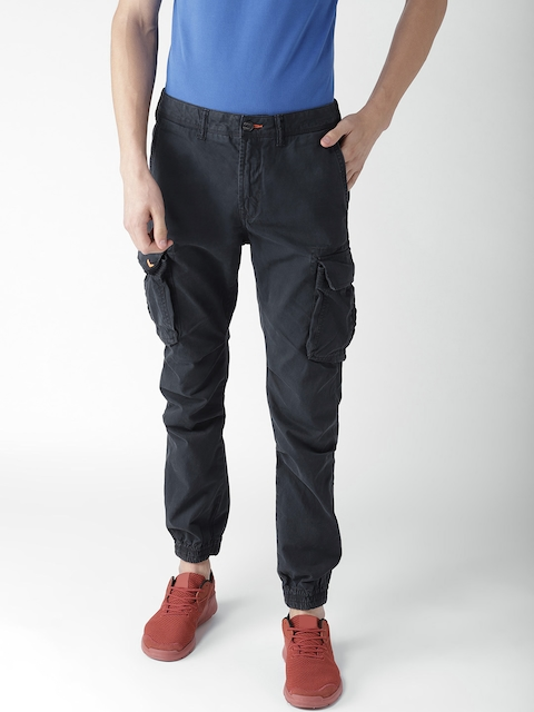 Superdry Men Navy Blue Tapered Fit Solid Cargos